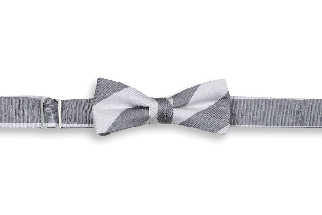 Dusty Gray and White Stripe Boy's Bow Tie