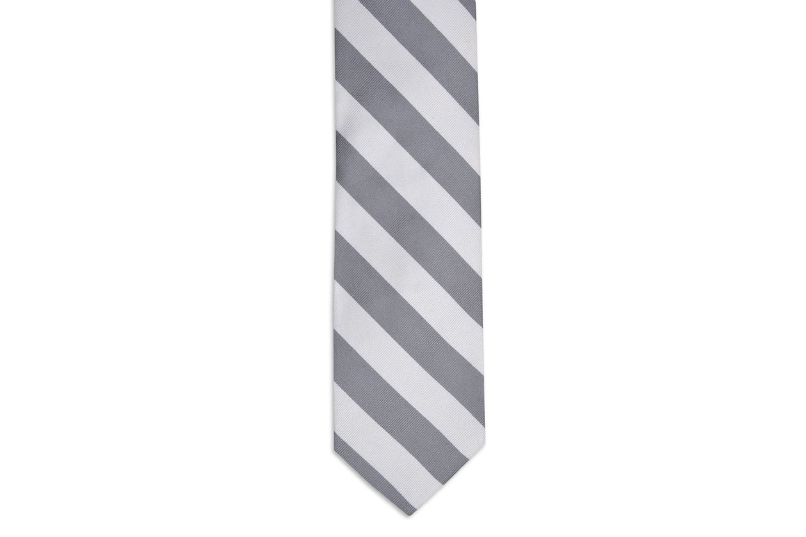 Dusty Gray and White Stripe Necktie