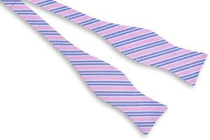 Front Porch Stripe Bow Tie - Carnation