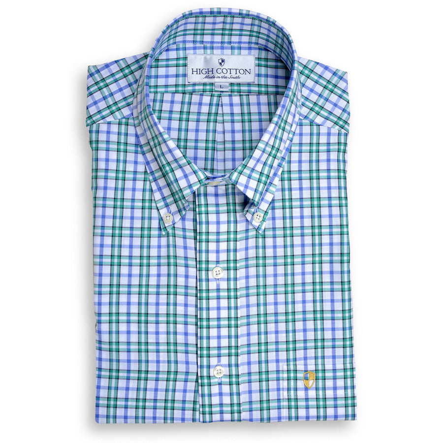 Green and Blue Plaid Sport Shirt