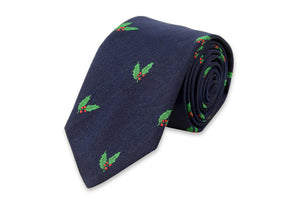 Deck the Halls Necktie - Navy