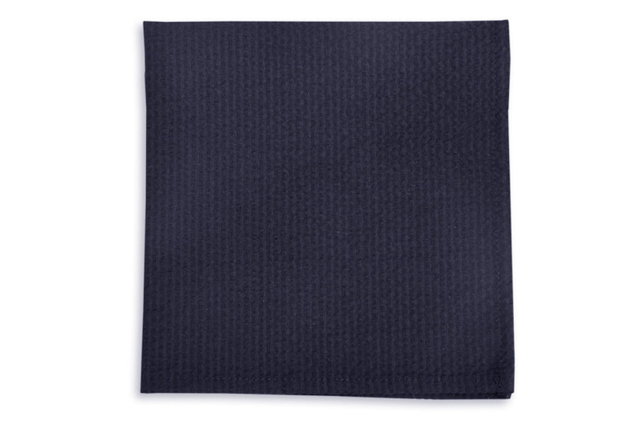Southern Seersucker Pocket Square - Navy Solid
