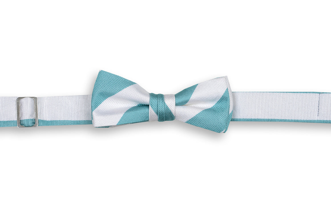 Light Sea Green and White Stripe Boy's Bow Tie