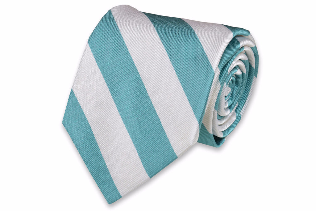 Light Sea Green and White Stripe Necktie