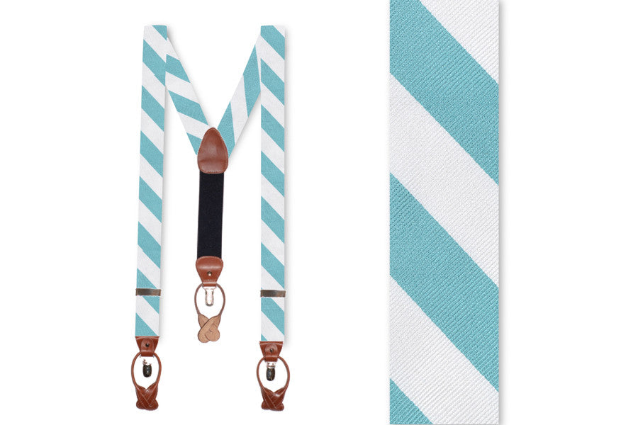 Light Sea Green and White Stripe Braces