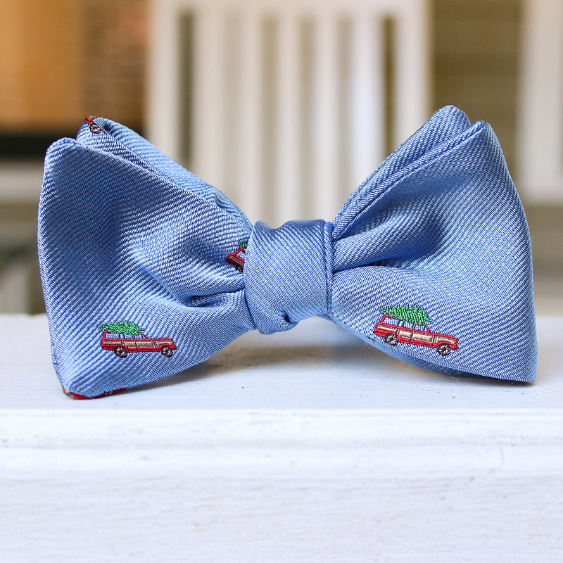 Christmas Woody Bow Tie - Light Blue