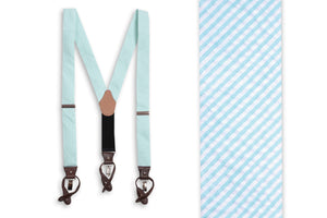 Southern Seersucker Stripe Braces - Mint