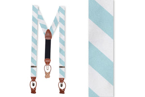 Misty Seafoam and White Stripe Braces