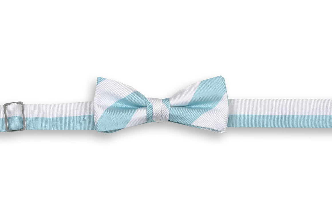 Misty Seafoam and White Stripe Boy's Bow Tie