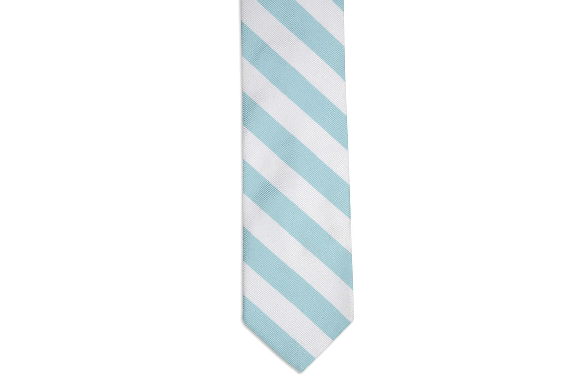 Misty Seafoam and White Stripe Necktie