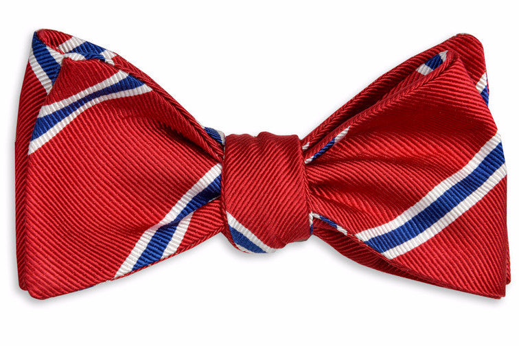 Noble Stripe Bow Tie - Red