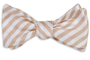 Oyster Roast Stripe Bow Tie - Champagne