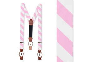Pale Pink and White Stripe Braces