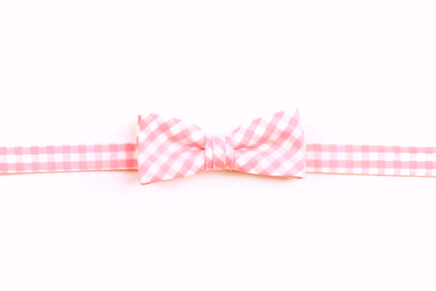 Pale Pink Check Boy's Bow
