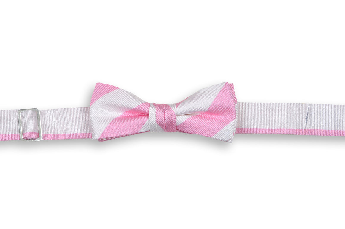 Pale Pink and White Stripe Boy's Bow Tie