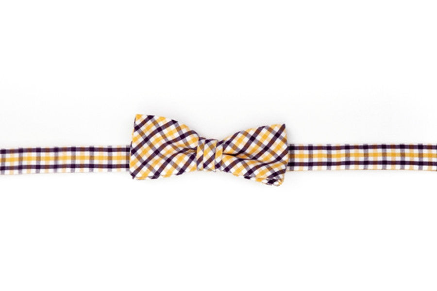 Purple and Gold Tattersall Boy's Bow