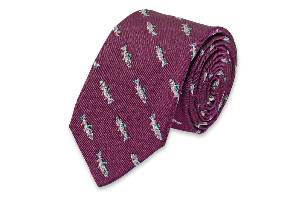 Rainbow Trout Necktie - Plum