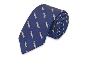 Rainbow Trout Necktie - Navy
