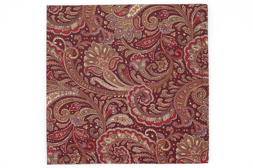 Pembroke Paisley Pocket Square - Cranberry