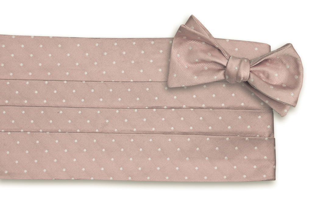 Blush Pink Dot Cummerbund Set