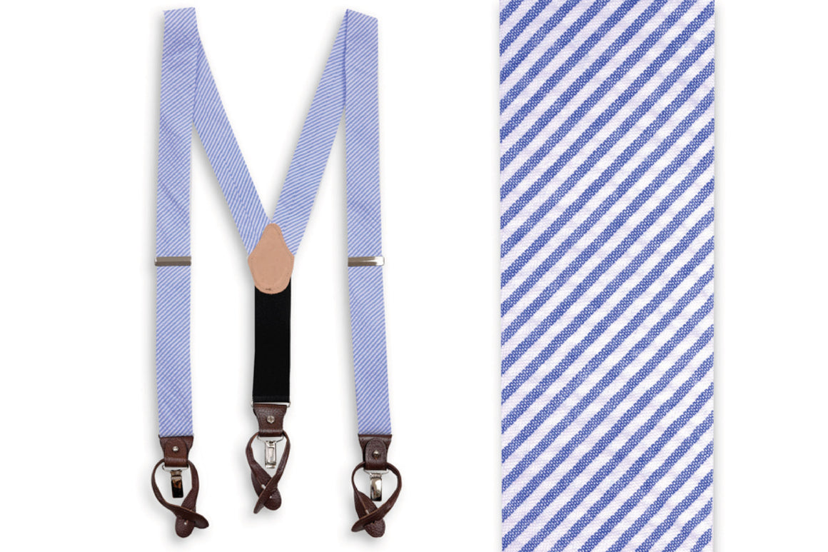 Southern Seersucker Stripe Braces - Royal