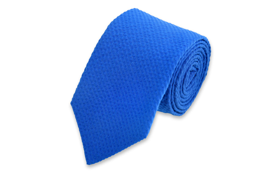 Southern Seersucker Necktie - Royal Solid