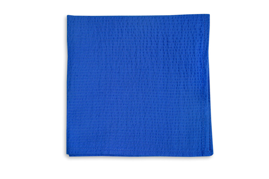 Southern Seersucker Pocket Square - Royal Solid
