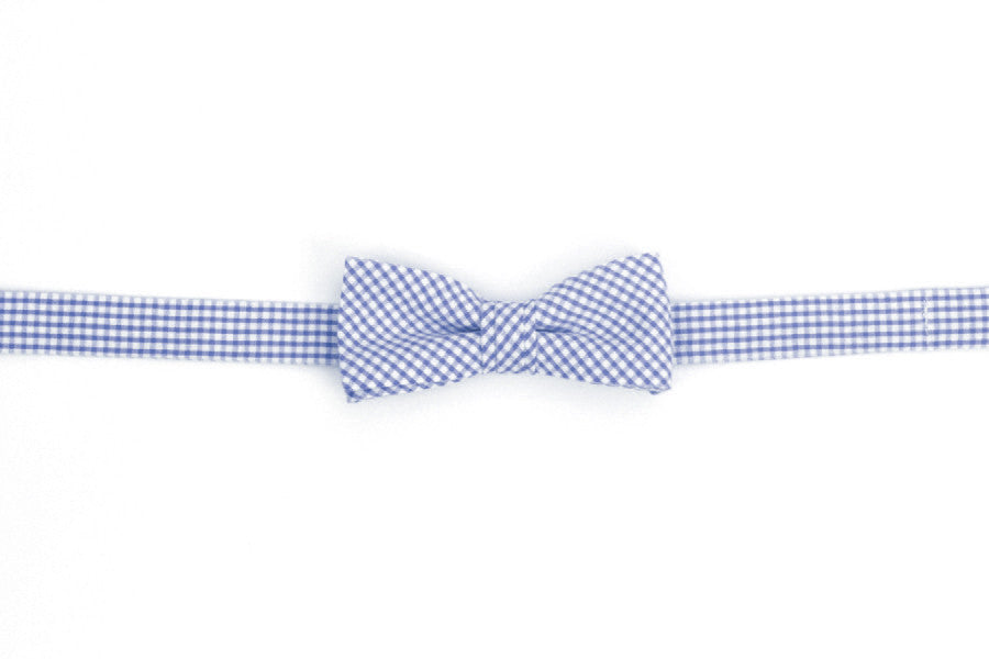 Royal Blue Seersucker Gingham Boy's Bow