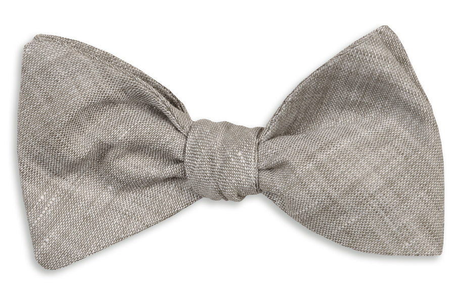 Sea Island Linen Bow Tie - Gray