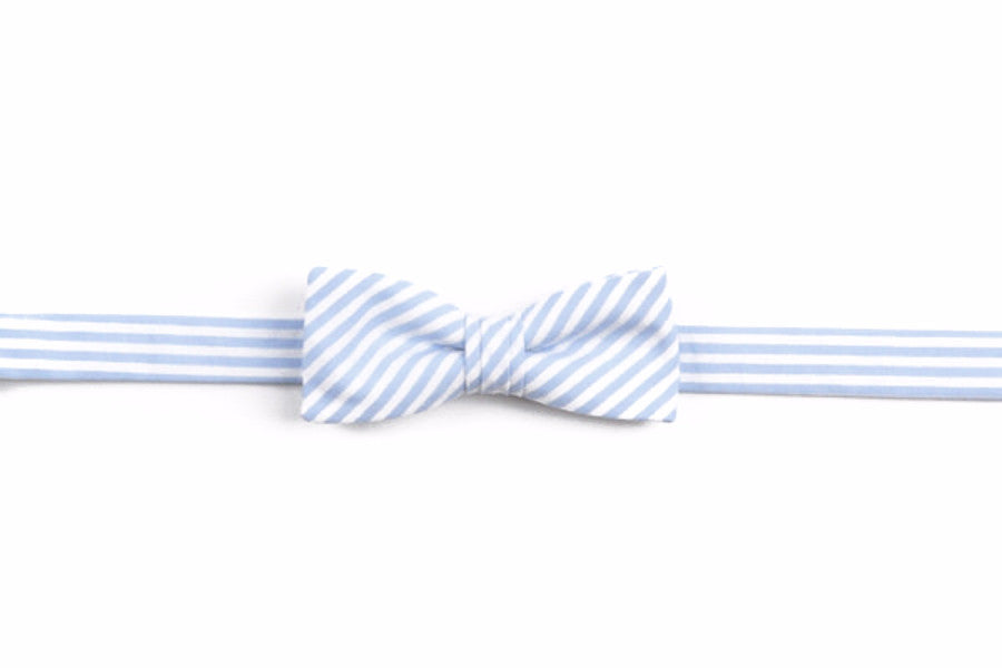 Soft Carolina Blue Stripe Boy's Bow
