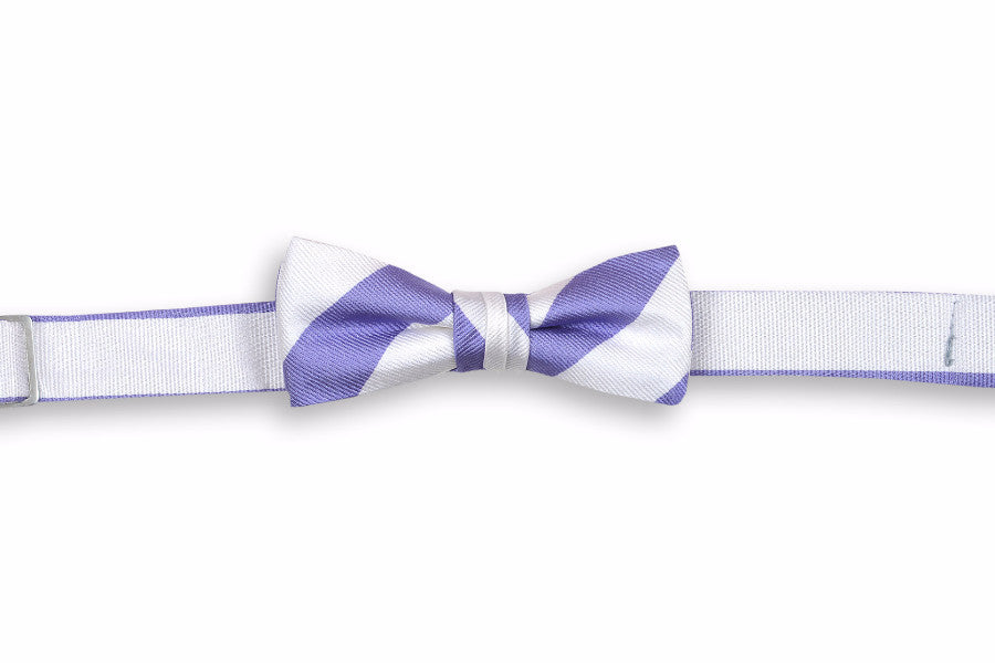 Soft Lavender and White Stripe Boy's Bow Tie