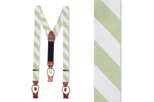Spring Green and White Stripe Braces
