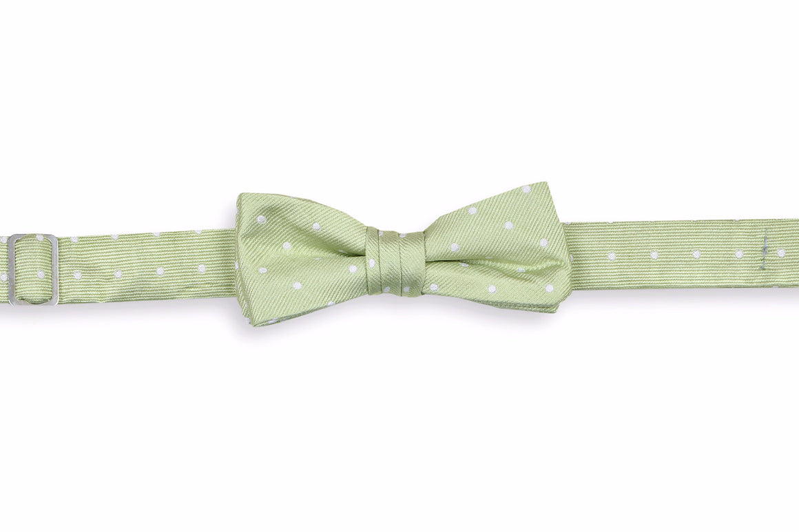 Spring Green Dot Boy's Bow Tie