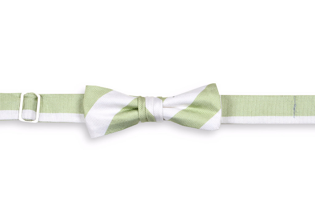 Spring Green and White Stripe Boy's Bow Tie