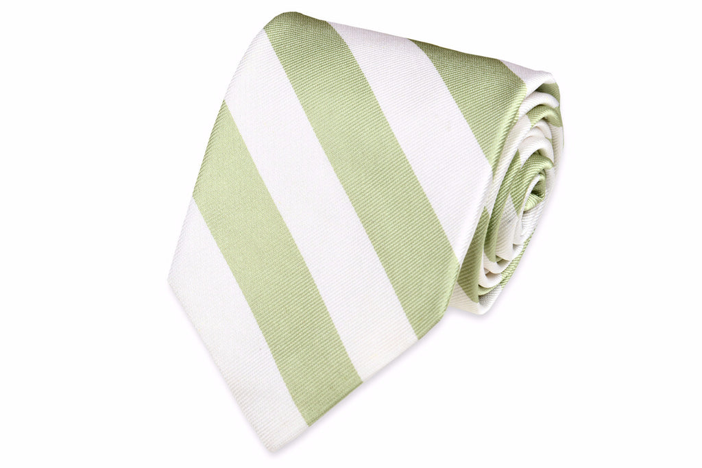 Spring Green and White Stripe Necktie