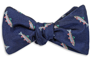 Rainbow Trout Bow Tie - Navy