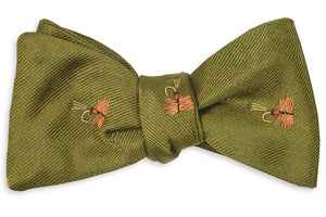 Trout Fly Bow Tie - Moss
