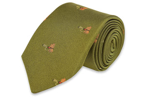 Trout Fly Necktie - Moss