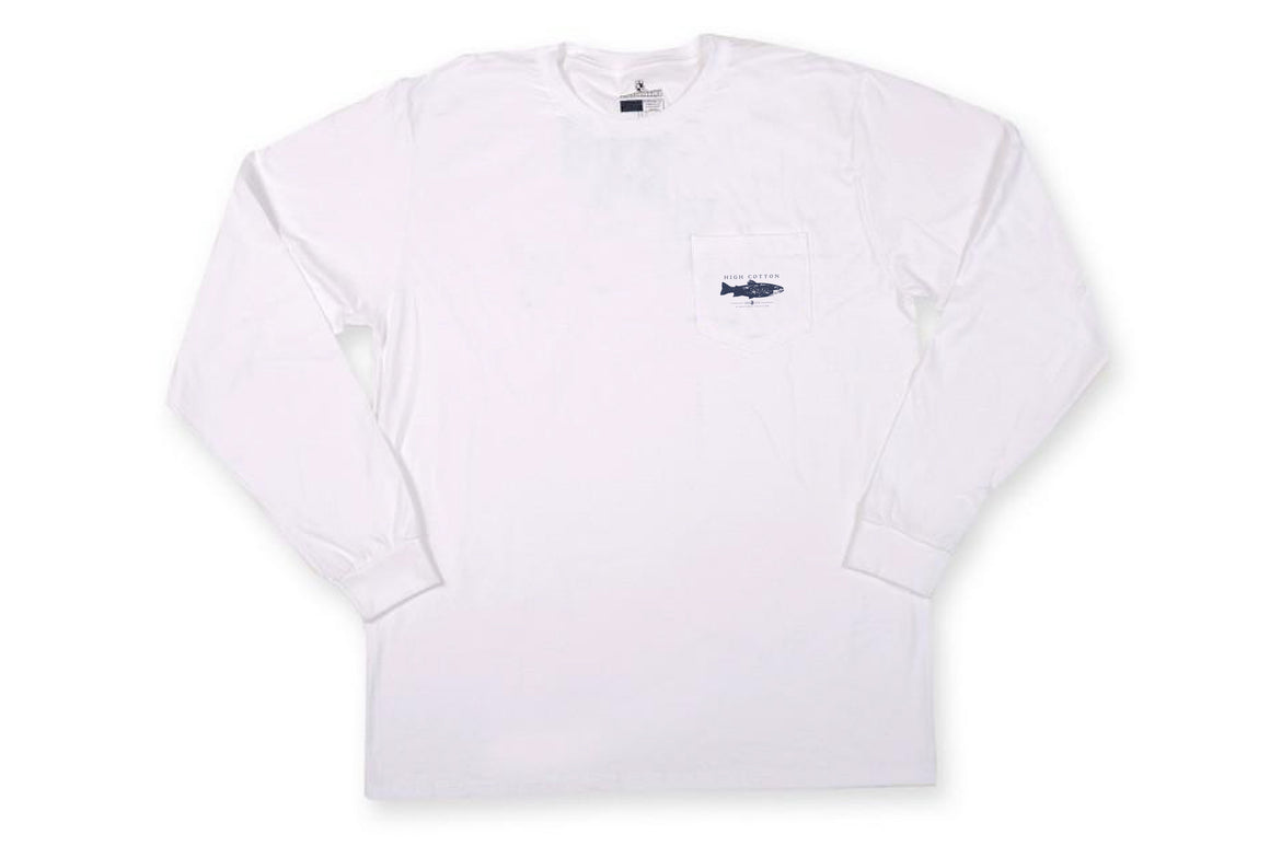 Brook Trout Long Sleeve Pocket Tee - Classic White