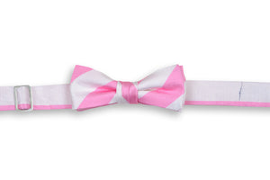 True Pink and White Stripe Boy's Bow Tie