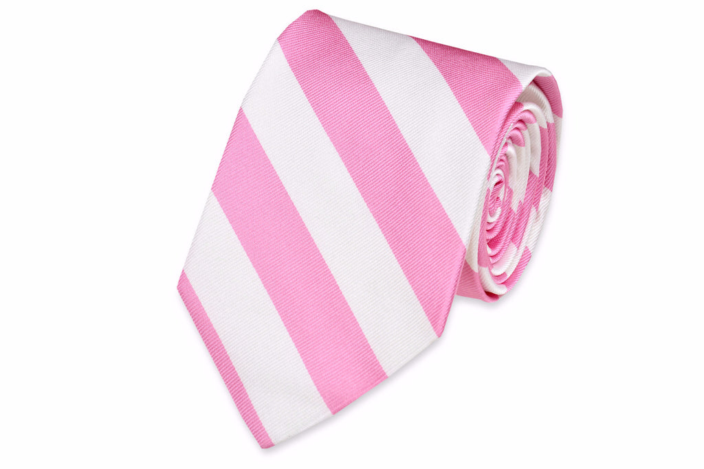 True Pink and White Stripe Necktie