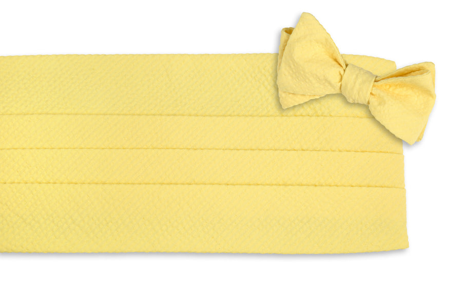 Southern Seersucker Cummerbund Set - Yellow Solid