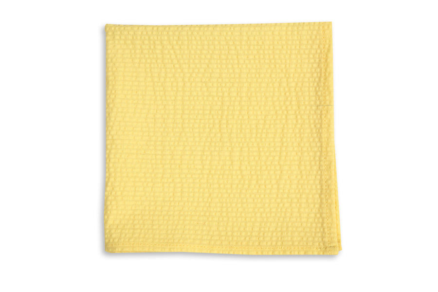 Southern Seersucker Pocket Square - Yellow Solid