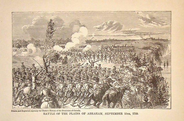 Battle of the Plains of Abraham, Tuttle's History of the Dominion of Canada, Antique Prints, Battle Scene, War, Soldiers, Cavalry, French and Indian War, 1759,