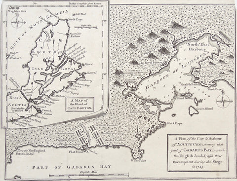Plan, City, Harbour, Louisbourg, Gabarus Bay, English landed, Encampment, Siege, 1745, New England Forces Landed, Flat Point, Burr's Regiment, Pepperil's Regiment, General Pepperil, Gen. Pepperil's Quarters, Piquet lane, Flat Point Cove, Fresh Water Brook, Willard's Regiment, Moulton's Regiment, Moore's Regiment, White Point, City of Louisbourg, Black Cape, Green Island, Island Battery, Battery Island, North Cape, English Battery, Harbour of Louisbourg, Trenches, Tidcombs Battery, Martezans, Barraks, Hale's Regiment, Royal Battery, French Settlements, North East Harbour, Careening Place, Lighthouse, Gorhams Regiment, Magdalen Islands, Magdalen Isles, Gulf of Nova Scotia, Nova Scotia, Island of Cape Breton, Map of Cape Breton, Cape Breton, Mokodomo, Country Har, Tor Bay, White Head, White Point, Cape Canso, Canso Island, Durels Island, Green Island, Isle Madam, Port Toulouse, St. Peters, Isle Michaux, Isle de St. Esprit, Fourche, Guion Island, Skatarid, Flint Island, Indian Bay, Spaniards Bay, Isle de Boularderie, Labrador Entry, Port Dauphin, Cape Ensime, Niganishe, Isle Royale, North Cape, Isle St. Paul, Cape St. Laurence, Laimboch, East Point of St. john's Island, Gut of Casano, Cape Fronsak, Patriere Grand anse, Shedabukte, Milford, Isle Mirar, Labrador, Canada, Canadian Map, Canadian, Canadian Maps, Map, Maps, Mapping, Chart, Charts, Charting, Vintage, Antique, Antique Map, Original, Rare, Rare Maps, Original Maps, Collector, Unique, Engraving, Copper engraving,