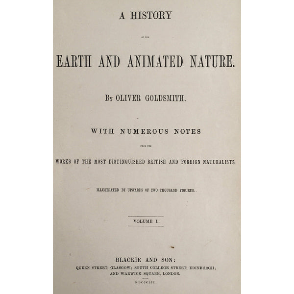 Title Page, Oliver Goldsmith, Goldsmith, Natural History, Animals, Wildlife, A History of the Earth and Animated Nature, Nature, Blackie & Son, Blackie and Son, 1852, Antique, Prints, Original, Art, Wall decor, Interior Design, Wildlife art, Decor, Design, Antique Prints, Engraving,