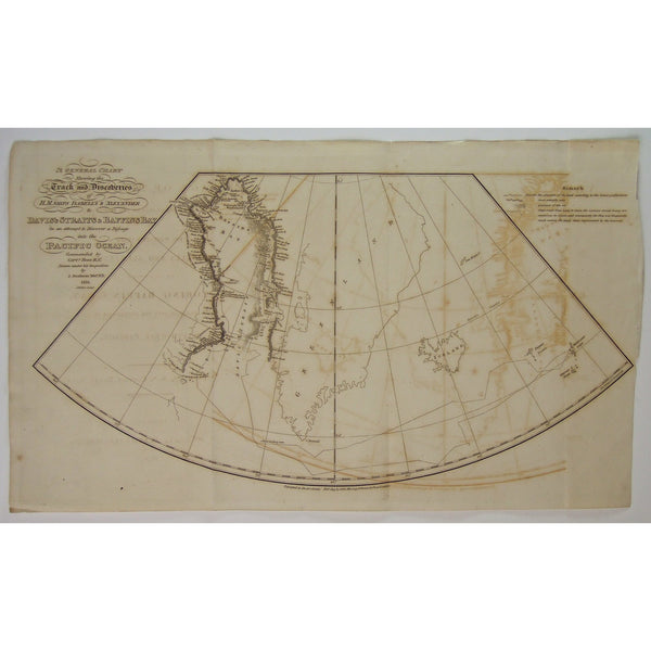 Davis', Davis, Davis Strait, Davis's Straits, Baffins Bay, Bay, Pacific Ocean, Greenland, H.M.S., H.M.S. Isabella, H.M.S. Alexander, General Chart, Chart, Track, discoveries, Iceland, Cumberland Strait, Ferro Isles, Orkney Isles, Shetland Isles, Dalrymple Rock, Wolstenholme, North bay, Banks Bay, Crimson Cliffs, Waygart, Cumberland, Arctic, Arctic Circle, Antique Map, Antique, Map, Maps, Print, Art, Wall art, decor, Vintage, Old map, John Ross, Captain, London, 1819, A voyage of discovery, Bushnan, Walker,