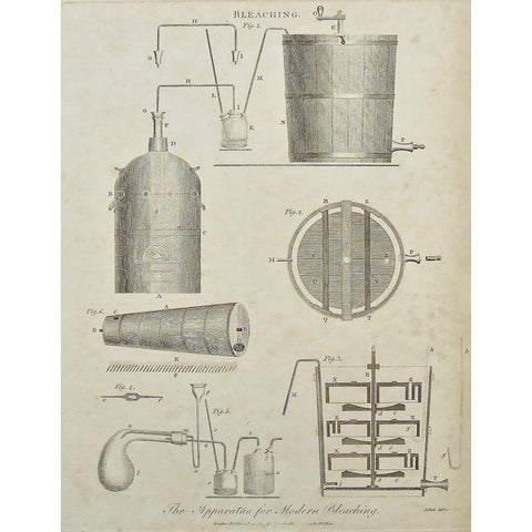 Bleaching, Bleach, Apparatus, Modern bleaching, devices, contraptions, diagram, Antique Print, Antique, Prints, Vintage, Art, wall art, decor, design, engraving, Encyclopedia, Encyclopaedia Londinensis, London, Dictionary, Universal dictionary of the arts, Wilkes, Adlard, 1799, Pass, mechanics, machine, instrument,