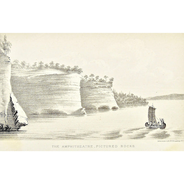 Amphitheater, Rocks, Rock formation, Pictured Rocks, Cliff, View, from the water, sail, Sailing, sailboat, Landscape, Lake Superior, Lake, Superior, National Lakeshore, Lakeshore, Michigan, MI, Ackerman, 379 Broadway, Foster, Whitney, House of Representatives, House of Reps., Report, Geology, Topography, Land District, State of Michigan, Part II, The Iron Region, General Geology, Washington D.C., Washington, DC, D.C., 1851, lithograph, two-toned, Antique Print, Antique, Prints, Vintage, Art, Wall art, Decor