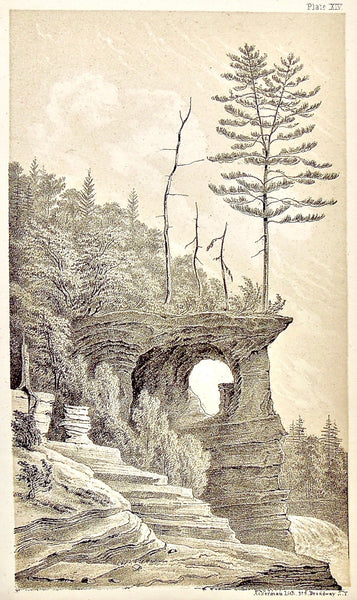 View, Chapel, View from the East, Rocks, Rock Formation, Pictured Rocks, Cliff, Landscape, Lake Superior, Lake, Superior, National Lakeshore, Lakeshore, Michigan, MI, Ackerman, 379 Broadway, Foster, Whitney, House of Representatives, House of Reps., Report, Geology, Topography, Land District, State of Michigan, Part II, The Iron Region, General Geology, Washington D.C., Washington, DC, D.C., 1851, lithograph, two-toned, Antique Print, Antique, Prints, Vintage, Art, Wall art, Decor, wall decor, design, engra